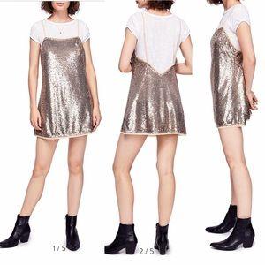 NWT Free People Time To Shine Slip Dress Gold Sz L